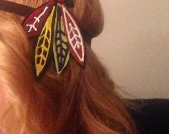SALE Blackhawks HEADBAND or Hair Clip, Hawks Chicago Fans Accessory, waitress, bartender, sports bar, Gift, hair accessory, hockey