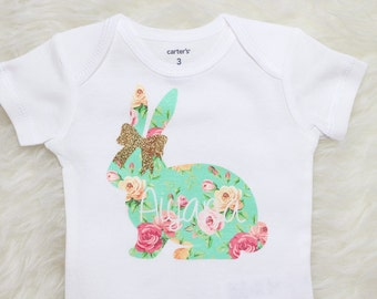 Baby Girl Clothes, first easter outfit, baby girl easter shirt, baby easter onesie, personalized easter shirt, floral bunny easter onesie