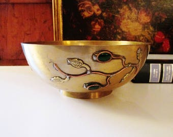 Chinoiserie Brass Bowl with Stones, Hollywood Regency, Chinoiserie Coffee Table Decor, Chinese Bowl