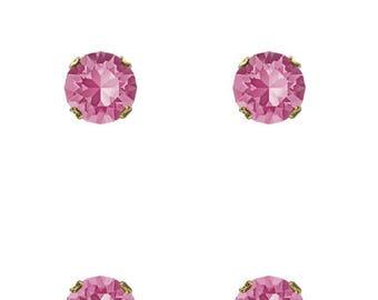 Swarovski Crystal Rose Maud Stud Earrings Gold Plated Womens Girls SS39 8mm Chaton