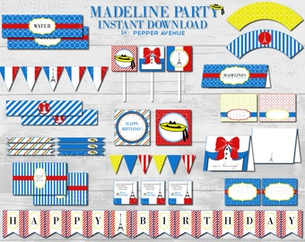 Madeline Birthday Party Package INSTANT DOWNLOAD / Parisian - Eiffel Tower Paris, France - Madeline in Paris - Printable PDF Files