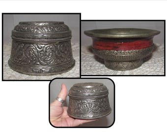 Vintage Engraved Metal Box w/ Hinged Lid & Metal Bowl w/ Wood, jewelry, trinket, catch all, Asian look