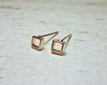 Tiny Open Square Stud Earrings, Dainty Earrings