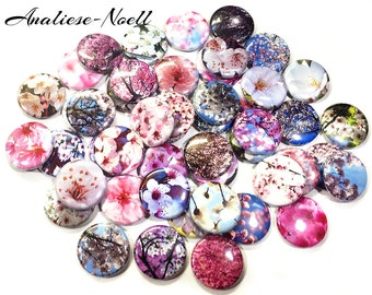 """Cherry Blossoms, 1"""", Buttons, 1"""" Circles, Cherry Blossom Pins, Cherry Blossom Theme, Cherry Blossom Gifts, Cherry Blossom Party Favors, Pins"""