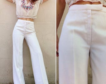 1970s French VTG ivory white wide leg pants Sz Small