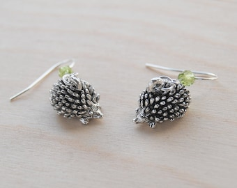 Adorable Teeny Tiny Hedgehog Earrings | Cute Silver Hedgehog Charm Earrings | Forest Hedgehogs