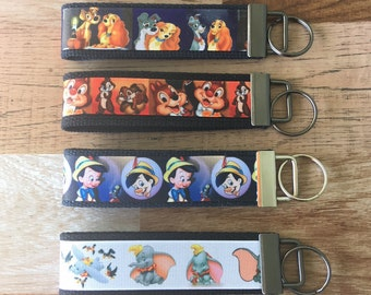 Disney Character Key Fob Wristlets /Lady and thr Tramp / Chip and Dale / Pinocchio / Dumbo