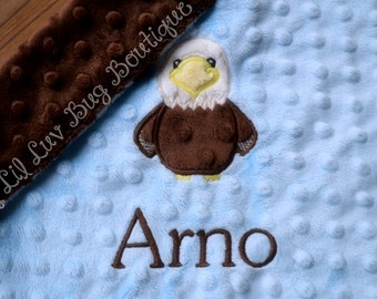 Personalized baby blanket- baby blue and brown bald eagle- lovey blanket