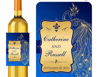 Wedding Wine Labels Personalized Stickers Blue Gold Elegant Peacock - Waterproof Vinyl 3.5 x 5 inch