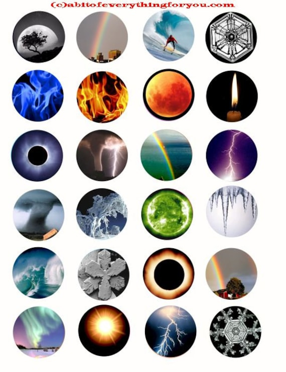 the elements weather storms collage sheet printables 1.5 inch circles clip art digital download graphics eclypse images craft pendant pins