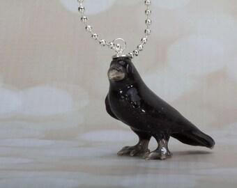 Crow Necklace -  Crow Pendant Necklace -  Animal Necklace - Black Bird- Bird Jewellery - Bird Necklace - Never More - Halloween Necklace