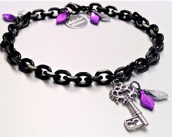 Stainless steel bracelet Black with keys and leaves charms