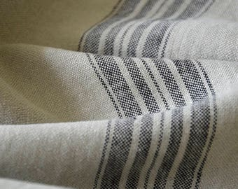 Striped linen fabric by the meter, natural linen, striped linen, striped softened linen fabric, french grain sack, 350 gsm, upholstery