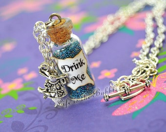 Alice in Wonderland Drink Me Bottle Necklace with a Rabbit Charm, Through the Looking Glass, Alice Cosplay, Disney Bound, Wonderland Jewelry
