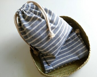 Draw String Pouch bag storage organizer, natural linen.