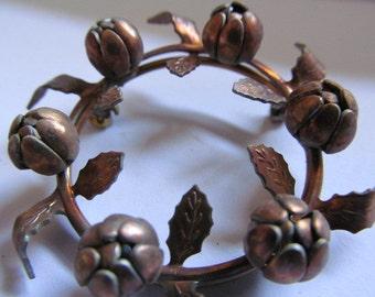 Vintage Brass Flower Wreath (1, 2 or 3) Beautiful Patina Flower Bud Leaf Wreath Frame Finding