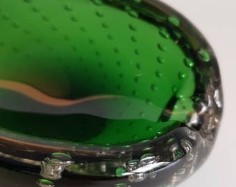 1950s Glass ashtray Murano bubble Glass Vintage 1950 's