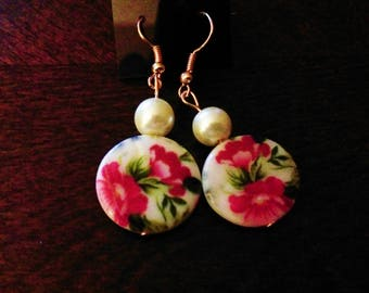 White Pearlesque Floral Earrings with Copper fish hook