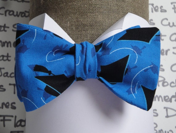 Self Tie or Pre Tied Bow Tie, Graduate Bow Tie, Black Hats on Blue, Bow ties for Men