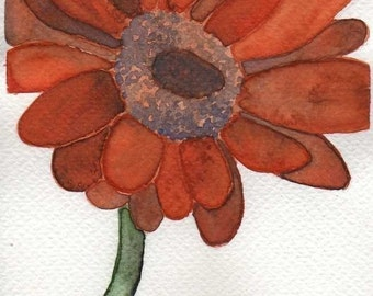 Watercolor Painting: Watercolor Flower Painting -- Mini Art Print -- Orange Daisy -- ACEO Print