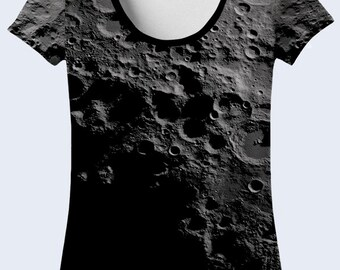 Dark Moon T Shirt, Сraters Tee Shirt, Outer Space Casual Clothing, Galaxy Shirt, Grey T Shirt, Astronomy Gift