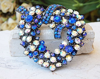 Heart brooch, Rhinestone brooch, Crystal swarovski, Patriotic brooch, Blue and white, Gift for sweetheart, Mothers day brooch, Heart shaped