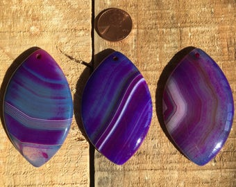 Large Purple banded Agate Marquis Pendant with flat back, top drilled, 30-35mm x 55-60mm