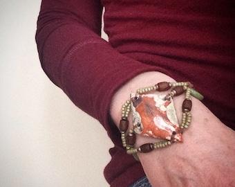 She's Scorched Bohemian Bracelet, Beaded Bracelet, Knotted Bracelet, Earthy Chic Jewelry by YaY Jewelry