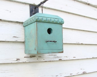 Rustic Garden Bird House Outdoor Birdhouse Functional Birdhouses Garden Decor Cottage Bird Houses Blue Birdhouses
