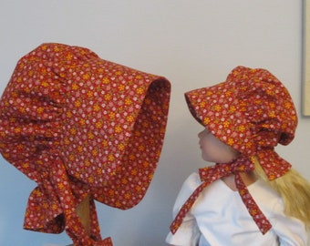 Matching Girl and Doll Prairie Bonnets for 16 to 18 Inch Dolls - Red and Yellow Calico Pioneer Bonnets - Ready to Ship