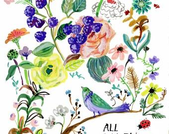 Garden Roses and a bird Archival Print