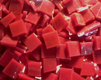 """100 1/4"""" BRIGHT RED SHINY Christmas Stained Glass Mosaic Tiny Tiles T6"""