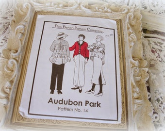 vintage park bench pattern company audubon park pattern no. 14 swing jacket sewing pattern