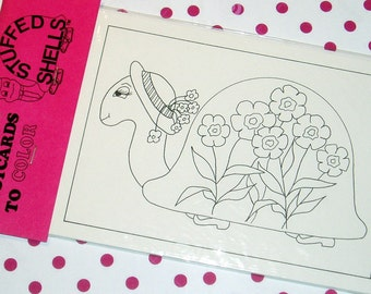 """Set of 6 postcards - The Girls - 5 different cards to color and one to """"stuff"""""""