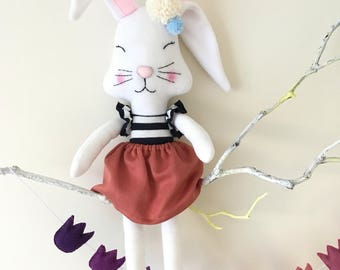Easter bunny rag doll, handmade fabric doll - Free shipping within the UK