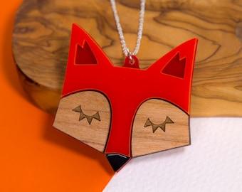 Fox Necklace, Fox Jewellery, Fox Pendant, Geometric Laser Cut Fox, Statement Necklace, Scandinavian Design, Gift for Fox Lover, Gift for Her
