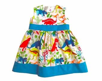 Summer Dinosaur dress Girl Baby Toddler Dress size 3 months to 6 years