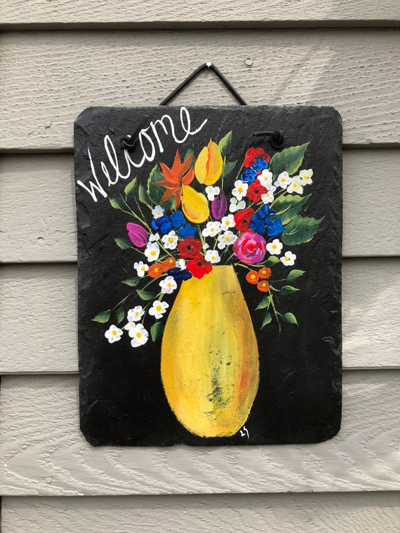 Spring Flowers Welcome Sign, door hanging, Spring Wall hanging, Hand painted slate plaque, welcome sign, gift for mom, mothers gift