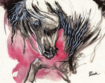 Grey andalusian horse, horse art, equine, equestrian, original acrylic painting on paper
