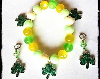 Glittery Shamrock Beaded Bracelet!  Matching hearing Aid Charms are available at a discounted bundle price!
