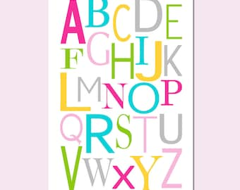 Modern Alphabet - 13x19 Print - Kids Wall Art for Nursery or Playroom - CHOOSE YOUR COLORS - Shown in Pink, Aqua, Yellow and More