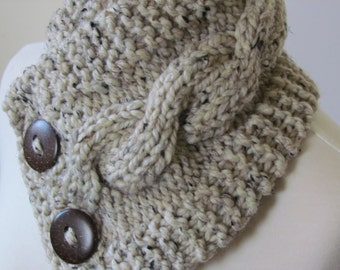 """Knit Neck Warmer, Cable Knit Scarf,  Chunky Warm Winter Scarf in Oatmeal 6"""" x 25"""" Coconut Shell Buttons Ready to Ship - Gift for Her"""