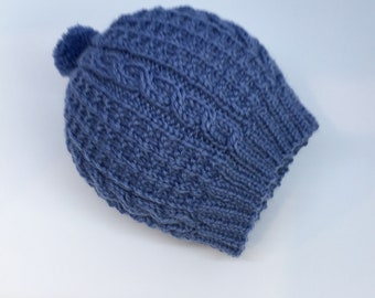 Baby hat-Baby woollen beanie-Cable patterned beanie-Dark blue beanie for baby-0-3 months baby beanie