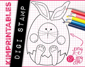 Easter Bunny in an Egg Costume - Digital Stamp - Instant Download Digi Stamp Graphics by KimPrintables