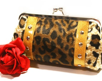 Leopard Clutch with Your Choice of Vinyl Trim- MADE TO ORDER