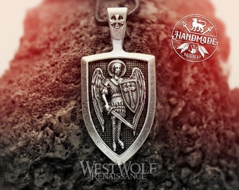 Shield Pendant of Saint Michael the Archangel - Holy Amulet of Protection --- Christian/Warrior/Angel/Cross/Necklace/Catholic/Silver/Steel