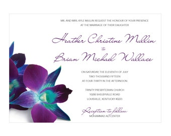 Blue & Purple Orchid Wedding Invitations