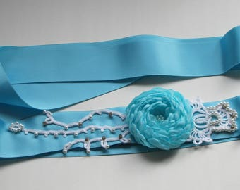 Aqua blue belt Aquablue belt with fabric flowers pearls and rhinestones all hand made Shoesclips and Boutonniere