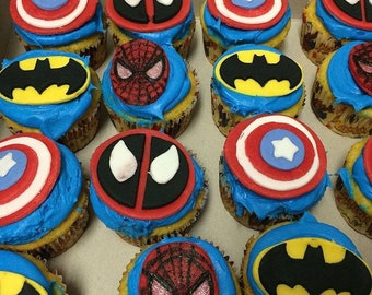 Super hero fondant cupcake toppers-Batman cupcake-Captain America cupcake-Spiderman cupcake-Deadpool cupcake-justice league cupcake-Avengers