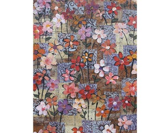 """Friday's Bouquet. 5"""" x 7"""" Blank Greeting Cards (Set of 6). Print of Original Layered Paper Collage. Stationery Art Card. Print-to-Order."""
